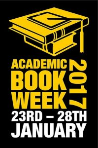 A logo for Academic Book Week 2017: A yellow pile of books with yellow text below: Academic Book Week 2017. Dates are located below the name of the event: 23RD - 28TH. All elements of the logo are based on a black background.